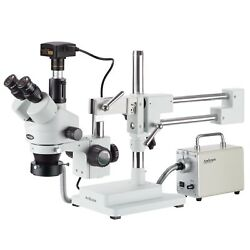 3.5x-90x Zoom Stereo Trinocular Microscope With Led Fiber Optic Ring Light And 5