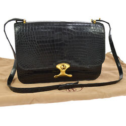 Authentic HERMES Shoulder Bag Black Crocodile Skin Leather Vintage GHW AK15926