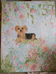 Hand Painted Yorkie Yorkshire terrier dog  11 ×14 canvas impressionist painting