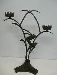 Antique Arts And Crafts Hand Wrought Iron Lily Pad Flower Pillar Candle Holder 25
