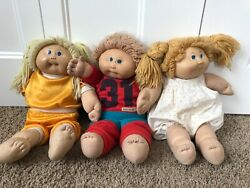 Cabbage Patch Kids Dolls Three Used Vintage - Two Girls And One Boy