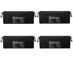 Mighty Max 12v 250ah Sla Battery Replacement For Atv / Rv / Marine - 4 Pack