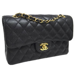 Auth CHANEL Quilted CC Double Flap Chain Shoulder Bag Black Caviar Skin A41651i