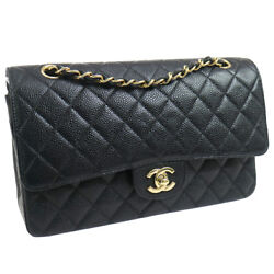 Authentic CHANEL Double Flap Quilted Shoulder Bag Black Caviar Skin GHW AK25736