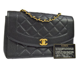 Auth CHANEL Quilted CC Chain Single Shoulder Bag BK Caviar Skin Leather AK20946