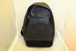 COACH MENS CHARLES MM LEATHER CROSSBODY BAGPACK WITH BASEBALL STITCH BLACK