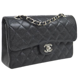 Authentic CHANEL Double Flap Quilted Shoulder Bag Black Caviar Skin GHW AK25619