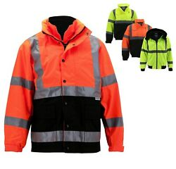 Menand039s Class 3 Safety High Visibility Water Resistant Reflective Neon Work Jacket