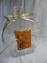 Vintage Planters Pennant Brand Peanuts Counter Top Jar W/ Paper Label