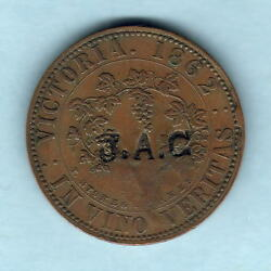 Australia Token. Stokes - 1862 1d. Melbourne Vic.. With J.a.c. Counterstamp. Vf