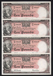 R-63. 1960 10 Pounds - Coombs/wilson.. Reserve Bank. Aunc - Consec Run Of 4