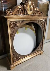 Antique Large 2 Sided Outdoor Brass Clock Cabinet Case Delivery Possible