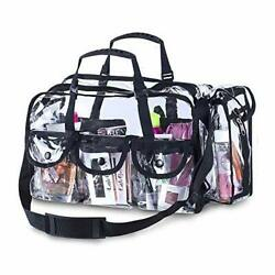 Premium Clear Makeup Organizer PVC Toiletry Bag 17 x 9 x 10  Transparent Cosmet