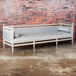 Antique Swedish Gustavian White Painted Sofa  Bench