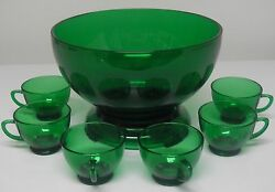 Anchor Hocking Glass Forest Green Punch Bowl And Stand Cups 8 Pc Set Mid-century