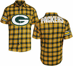 Forever Collectibles Nfl Mens Green Bay Packers Color Block Short Sleeve Flannel