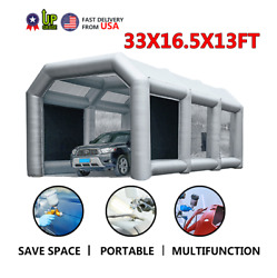 33x16.5x13FT Inflatable Spray Booth Car Paint Tent + Filtration System Silver