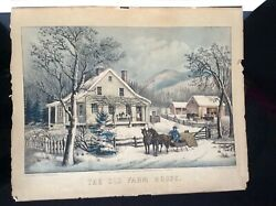 """Original Currier And Ives Hand-colored Lithograph """"the Old Farmhouse""""."""