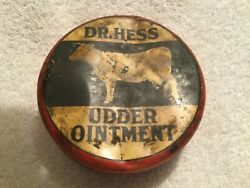 Vtg Tin Of Dr. Hess Udder Ointment Cow On The Lid Great Graphics Not Quite Empty