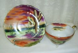 Handpainted China Lefton Cup And Saucer Painted Desert Scene