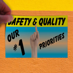 Decal Sticker Safety Quality Our #1 Priorities Blue Outdoor Store Sign Blue