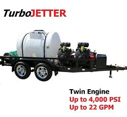 TuboJetter DX-2 Twin Engine Trailer Jetter Custom Built Trailer Mounted Jetter