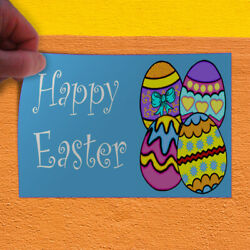 Decal Sticker Happy Easter Eggs Holidays and Occasions Happy Easter Store Sign
