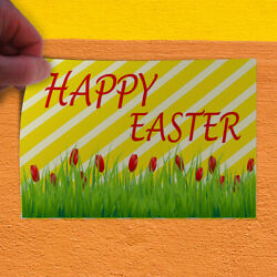 Decal Sticker Happy Easter Spring Tulips Holidays and Occasions Store Sign