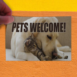 Decal Sticker Pets Welcome Business Welcome animals Outdoor Store Sign Brown