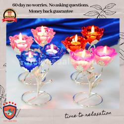 Crystal Candle Holders Set Of 4 For Table Centerpeice Natural Wedding Decor Best