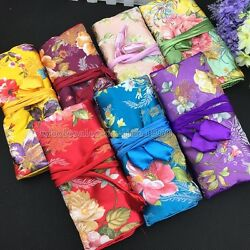 Oriental Chinese Silk Wrap Organizer Jewelry Roll Travel Makeup Bag Case Pouch