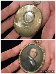Antique, Rare Victorian Gold Locket / Pendant W Painted Portrait And Later Photo