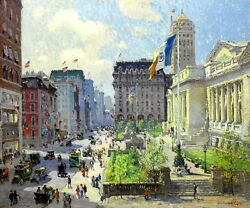 NEW YORK PUBLIC LIBRARY ARCHITECTURAL PAINTING BY COLIN CAMPBELL COOPER REPRO