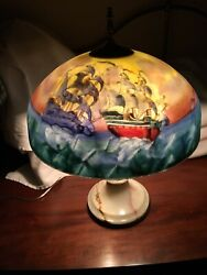 Antique Reverse Painted Glass Shade Lamp With Ships