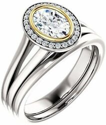1.10 carat total Oval & round Diamond Halo Engagement 14k Two tone Gold Ring