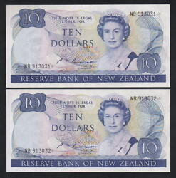 New Zealand P-172as. 1985-89 10 Russell - Star Note.. Prefix Nb - Consec Pair