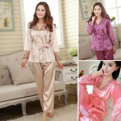 Spring Autumn Silk Women Pajamas Sets Lady Sleeping Clothes Wear Full Lenght