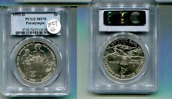 Blind Runner Olympics 1995 D 1 Silver Dollar Commemorative Coin Pcgs Ms70