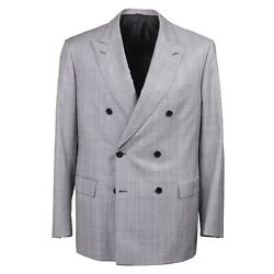 Brioni And039gaetanoand039 Slim-fit Light Gray Check Super 150s Wool Suit 44r Nwt