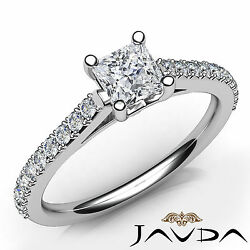Cathedral French V Pave Princess Natural Diamond Engagement Ring Gia D Vs2 0.8ct