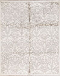 100 Silk Transitional Floral Ivory/silver Grey Oriental Hand-knotted 8and039x10and039 Rug