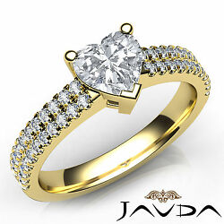 2 Row Shank Sidestone Heart Diamond Engagement Ring Gia F Color Vs1 Clarity 1ct