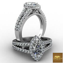 Halo Split Shank French U Pave Marquise Diamond Engagement Ring Gia H Vs1 1.75ct