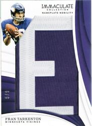 2018 Panini Fran Tarkenton Immaculate Collection Nameplate Nobility Letter E 5/9