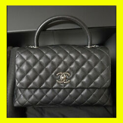CHANEL COCO HANDLE BLACK QUILTED CAVIAR Calfskin Flap hand bag shoulder 23