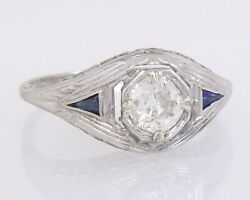 Antique 14k Gold .67ct Old European Diamond And Sapphire Art Deco Ring Size 7.25