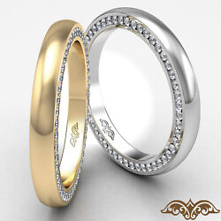 1.00 Ct. Round Diamond Menand039s Eternity Dome Pave Ring White Gold 3mm Wedding Band