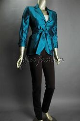 2990 New Akris Teal Blue Green Cotton Raw Silk Fitted Belt Jacket 34 4