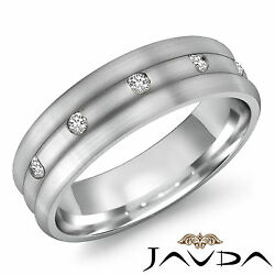 8mm Mens 5 Stone Diamond 18k White Gold Half Wedding Dome Band Solid Ring 0.50ct