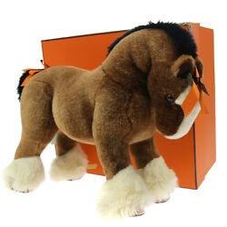 Authentic Hermes Hermy Ppm Plush Horse Toy Brown Acrylic Italy Vintage M13424c